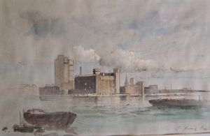 J Barrie Haste - The Thames at Battersea - Original Watercolour - SOLD
